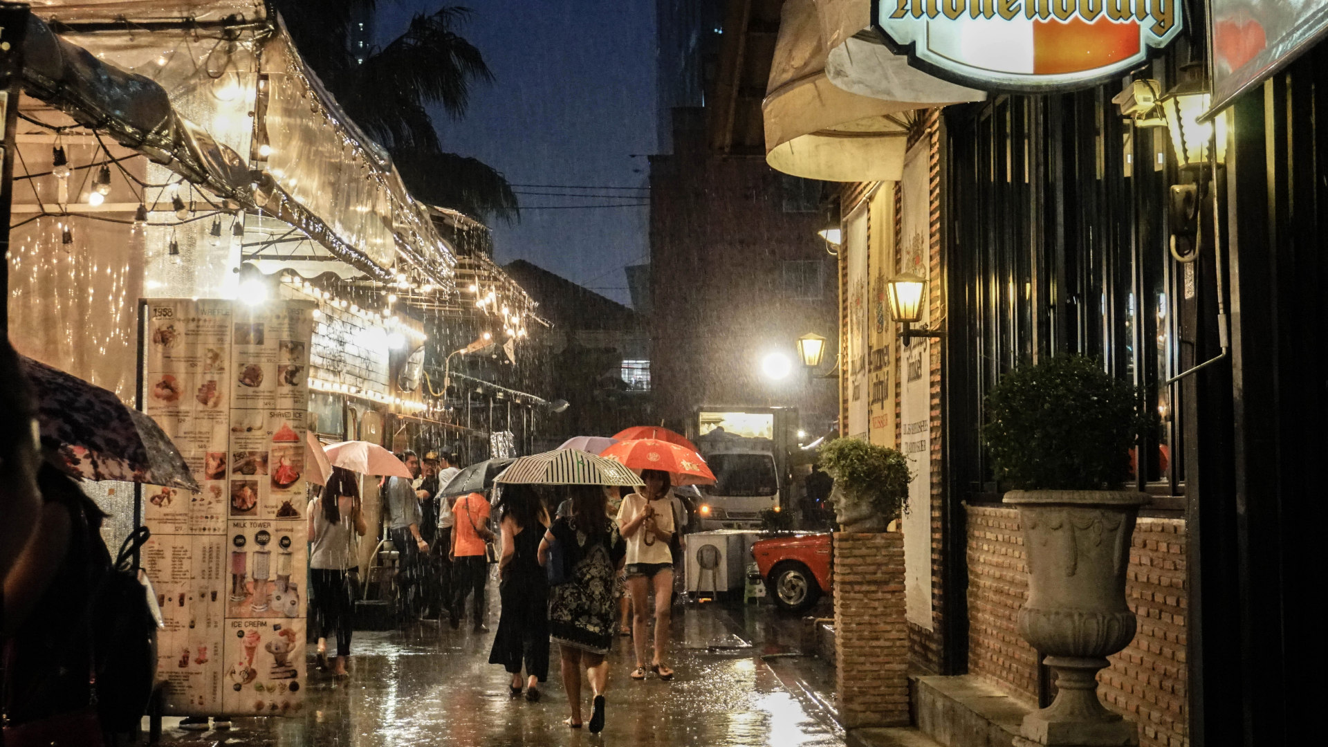rain at the night market in Bangkok